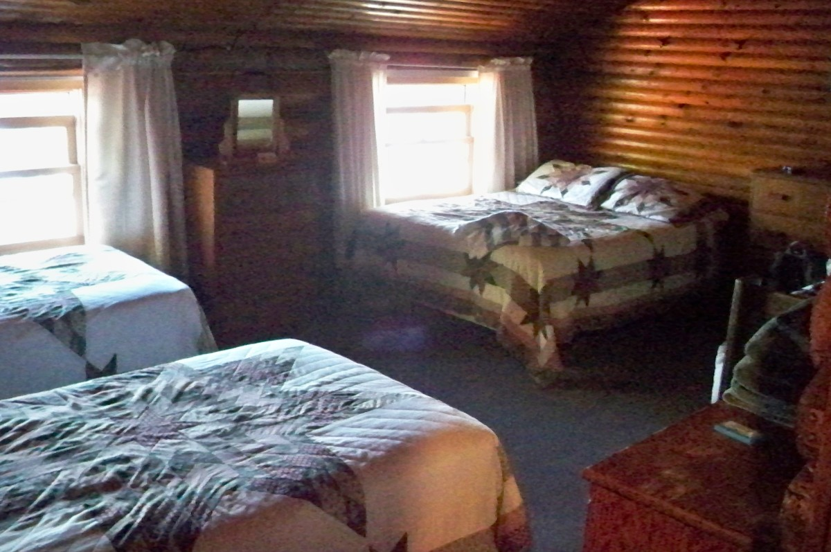 Our rustic and cozy lakeside lodge room for $60 ($30 per person for a couple)