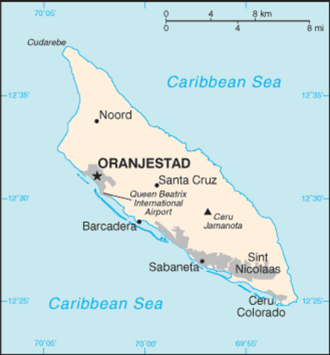 Map of Aruba with the location of its capital city Oranjestad