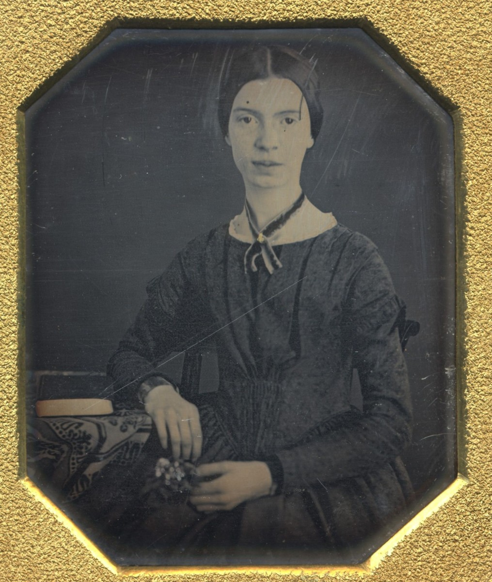 Emily Dickinson at age 17 - This daguerreotype is likely the only extant authentic image of the poet.