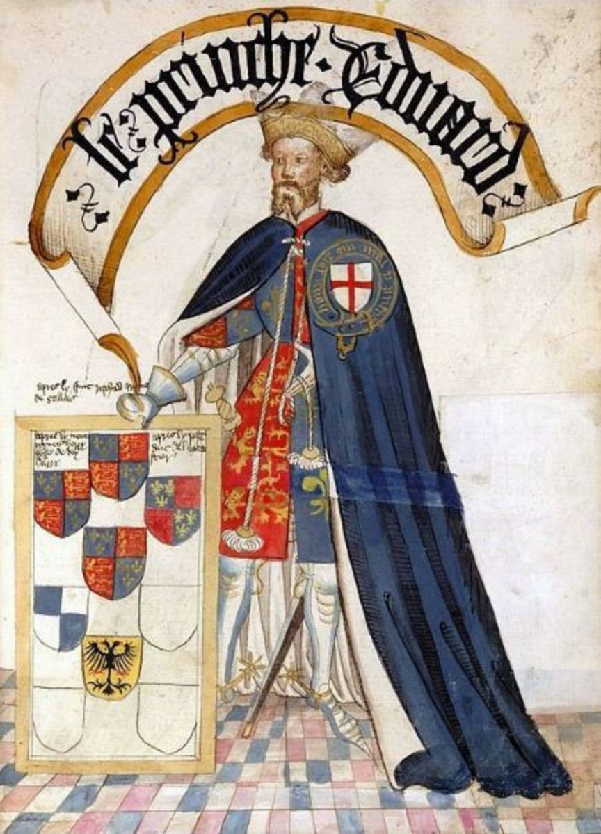 Edward of Woodstock, the Black Prince shown in his Order of the Garter robes.