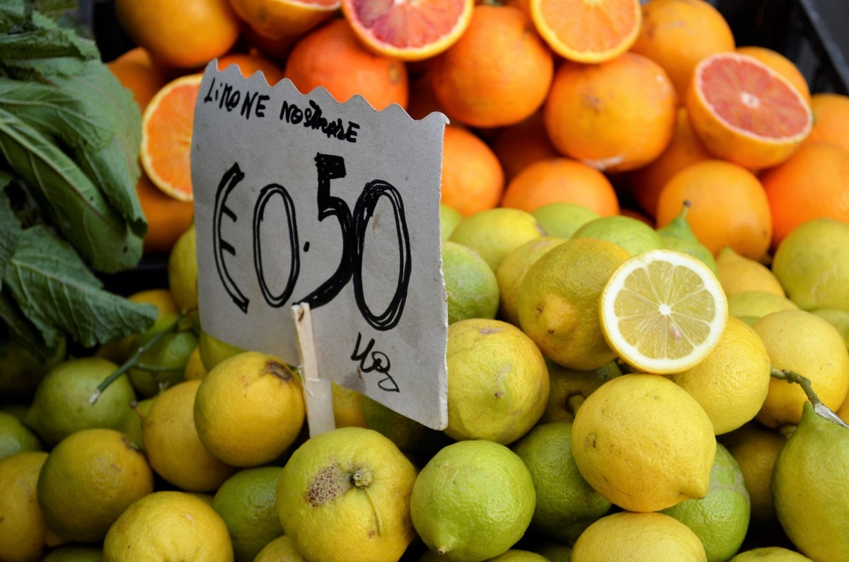 Citrus fruits in a Sicilian fruit stand