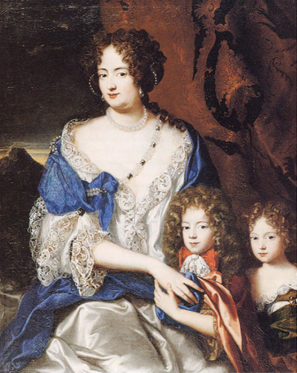 Painting of Sophia Dorothea with her two children, by Jacques Vaillant, circa 1690-1691.