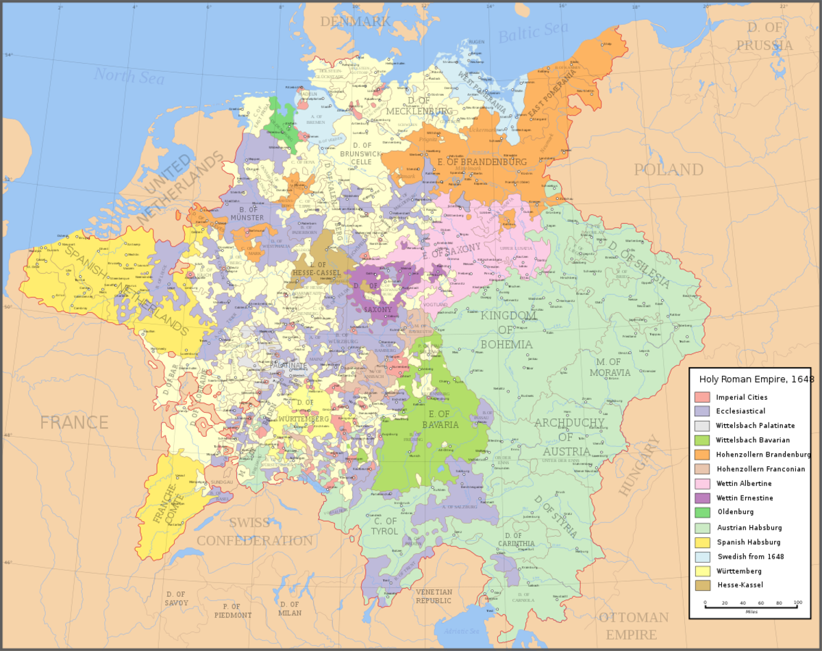 Map of the Holy Roman Empire in 1648.