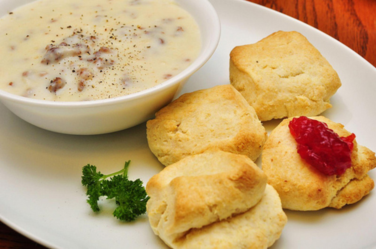 Biscuits, gravy and strawberry jam