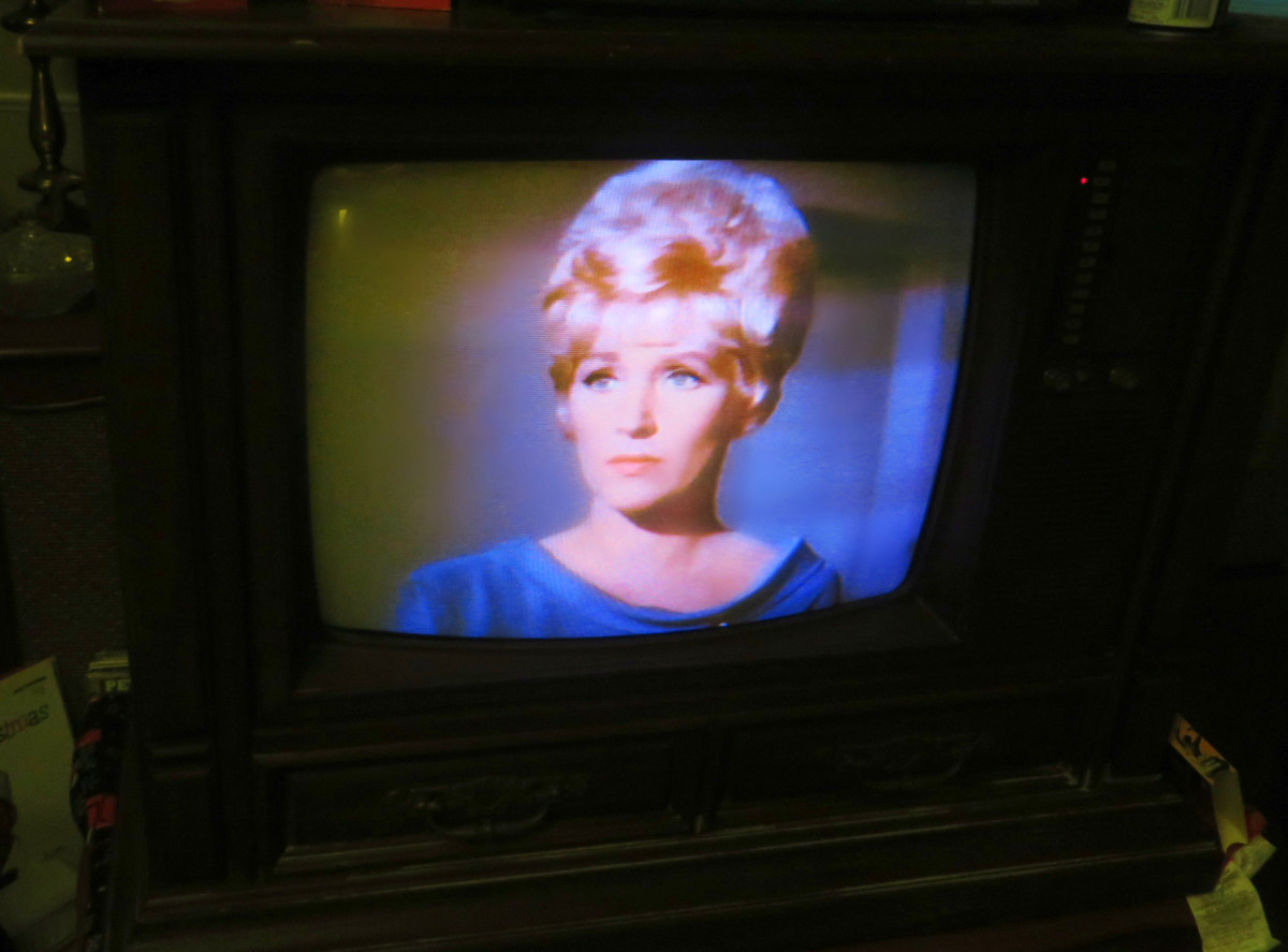 Nurse Christine Chapel, Star Trek VHS Tape on the 1980 Curtis Mathes Model G550, Color Television Console, Early American Design, Chassis C81-7 Medium Pecan. Both the tape and the television had been in a storage shed for countless years.