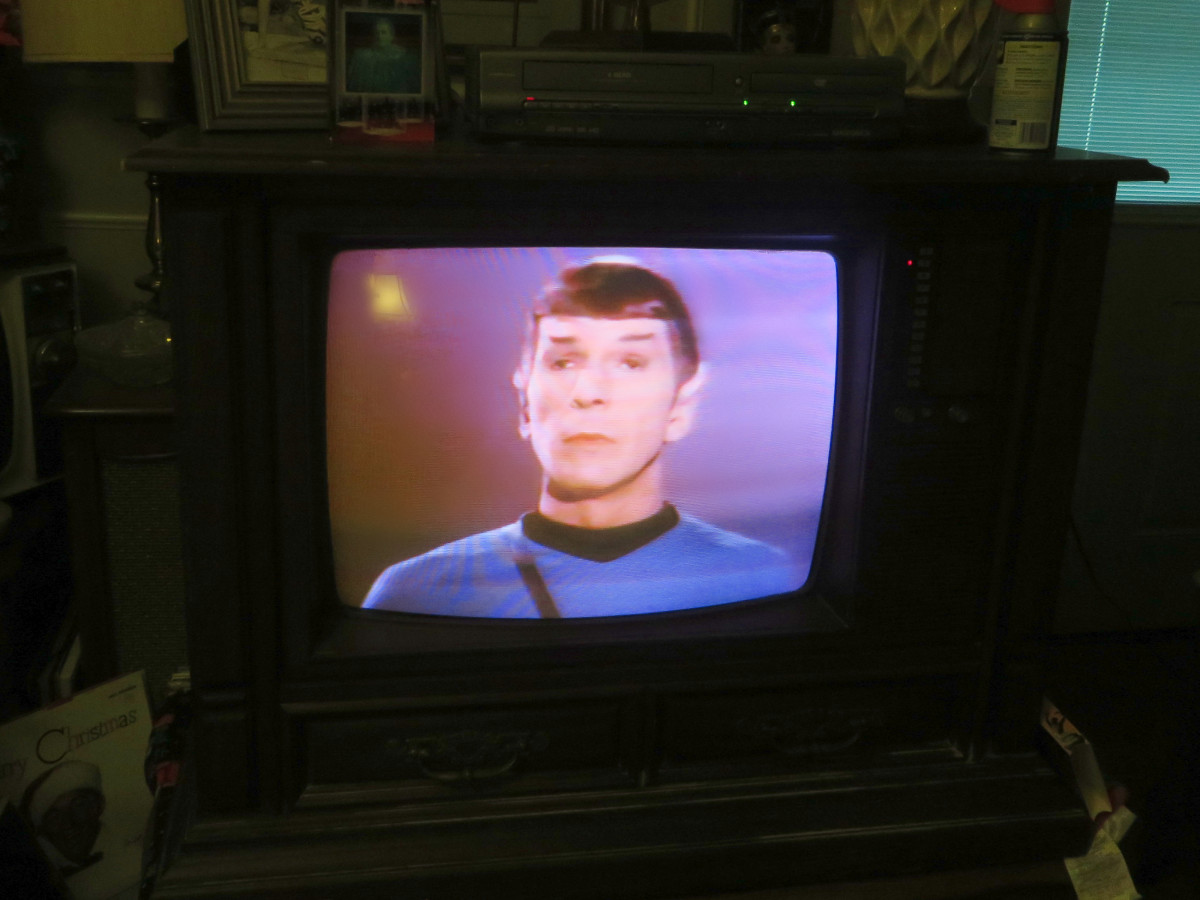 Leonard Nimoy as Mr. Spock, Star Trek VHS Tape on the 1980 Curtis Mathes Model G550. Color Television Console, Early American Design, Chassis C81-7 Medium Pecan. Both the tape and the television had been in a storage shed for countless years.