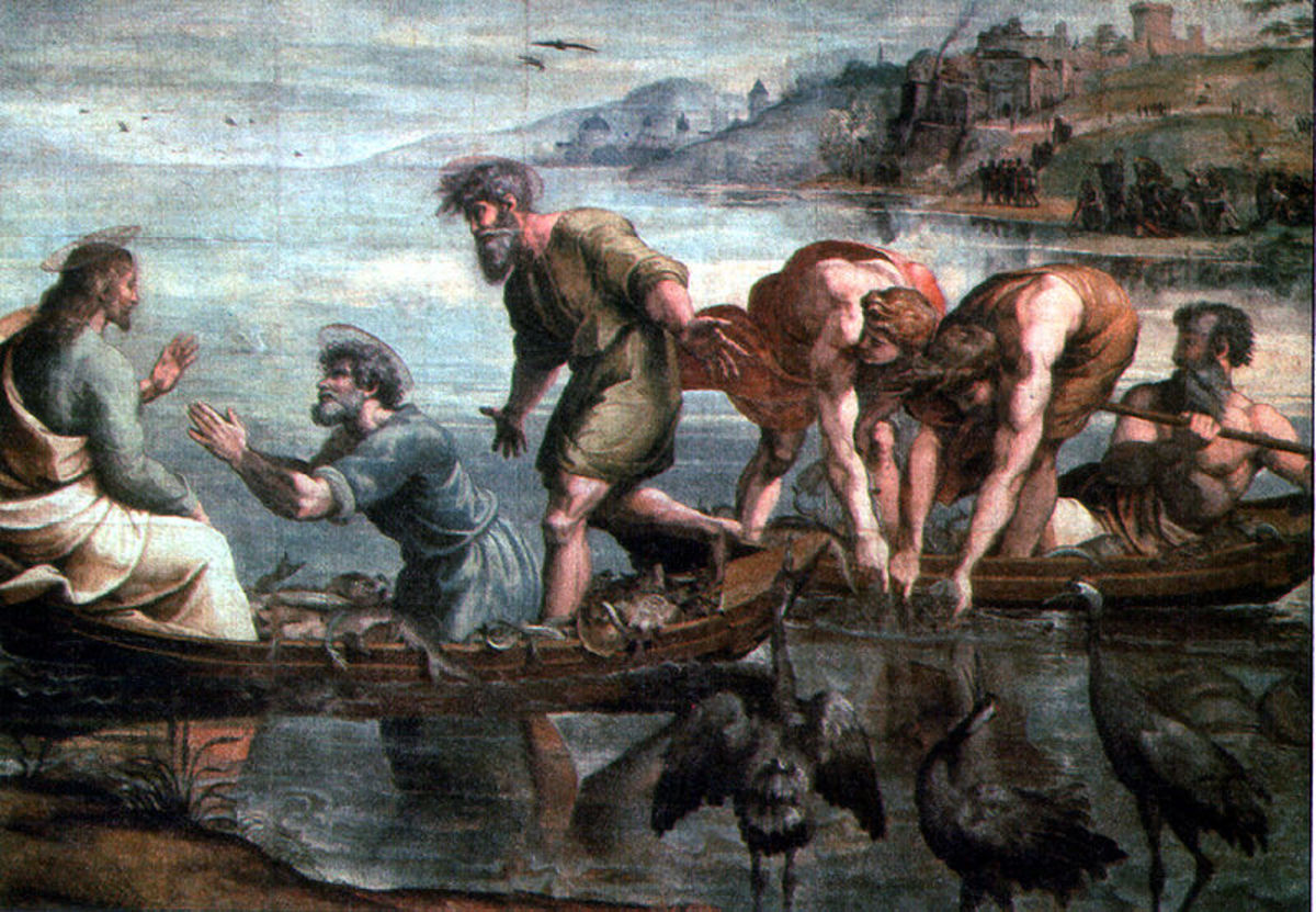 """The Catch of Fishes"" by Raffael Sanzio (1515) Tapestry - Victoria and Albert Museum - London"