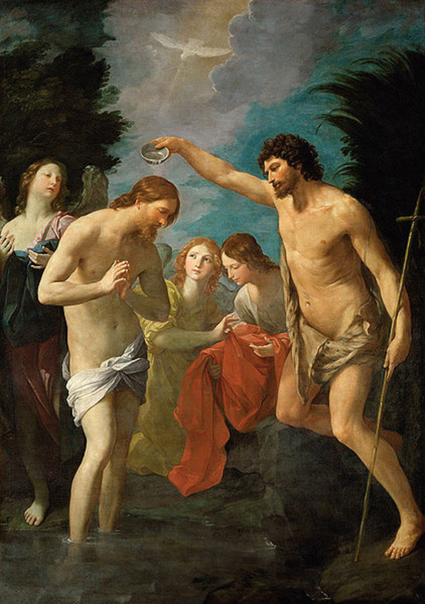 """Baptism of Christ"" by Guido Reni (1623) - Kunsthistorisches Museum, Gemldegalerie, Germany"