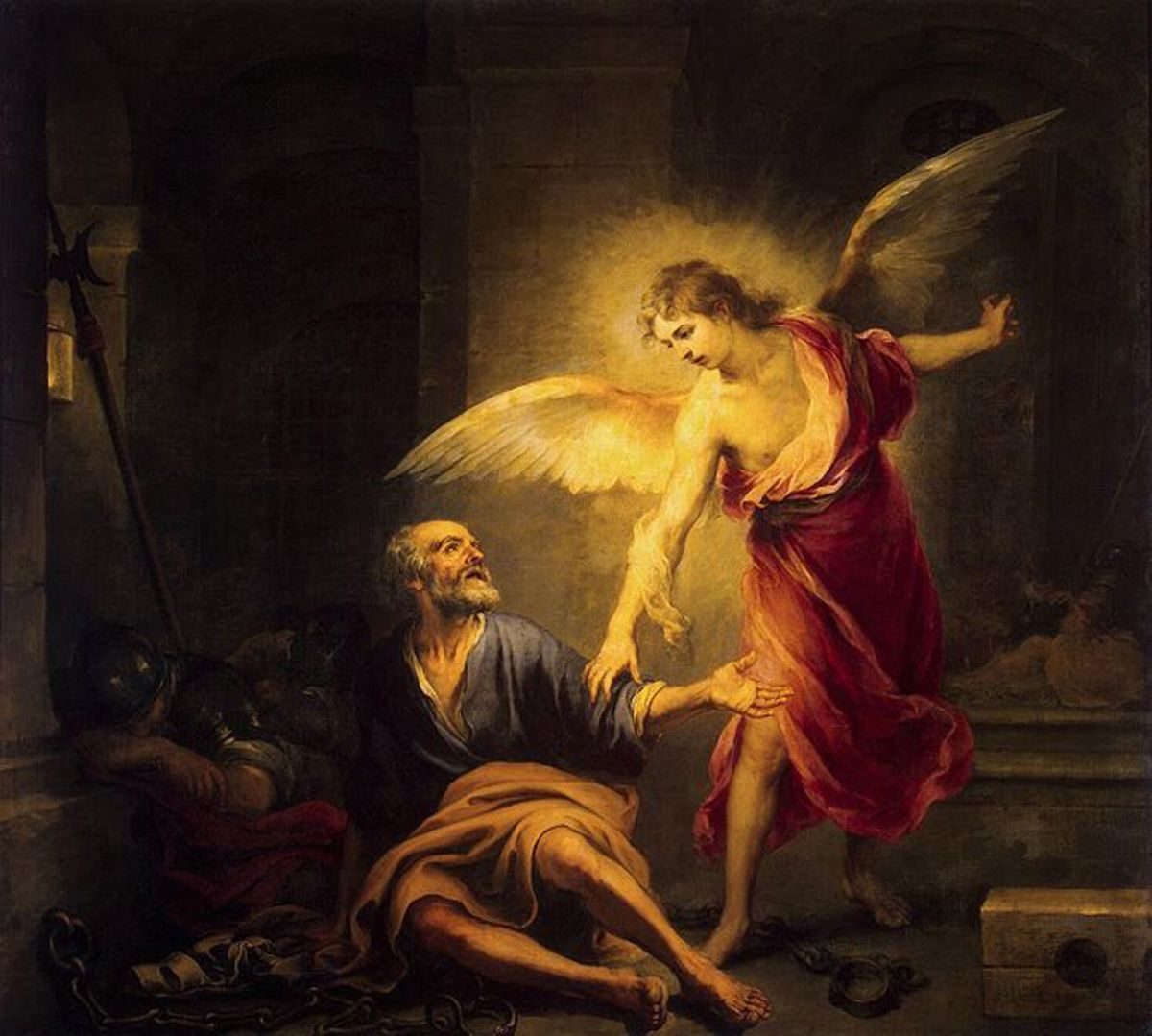 """""""The Liberation of St. Peter"""" by Bartolom Esteban Murillo (1667) - Hermitage Museum - St. Petersburg"""