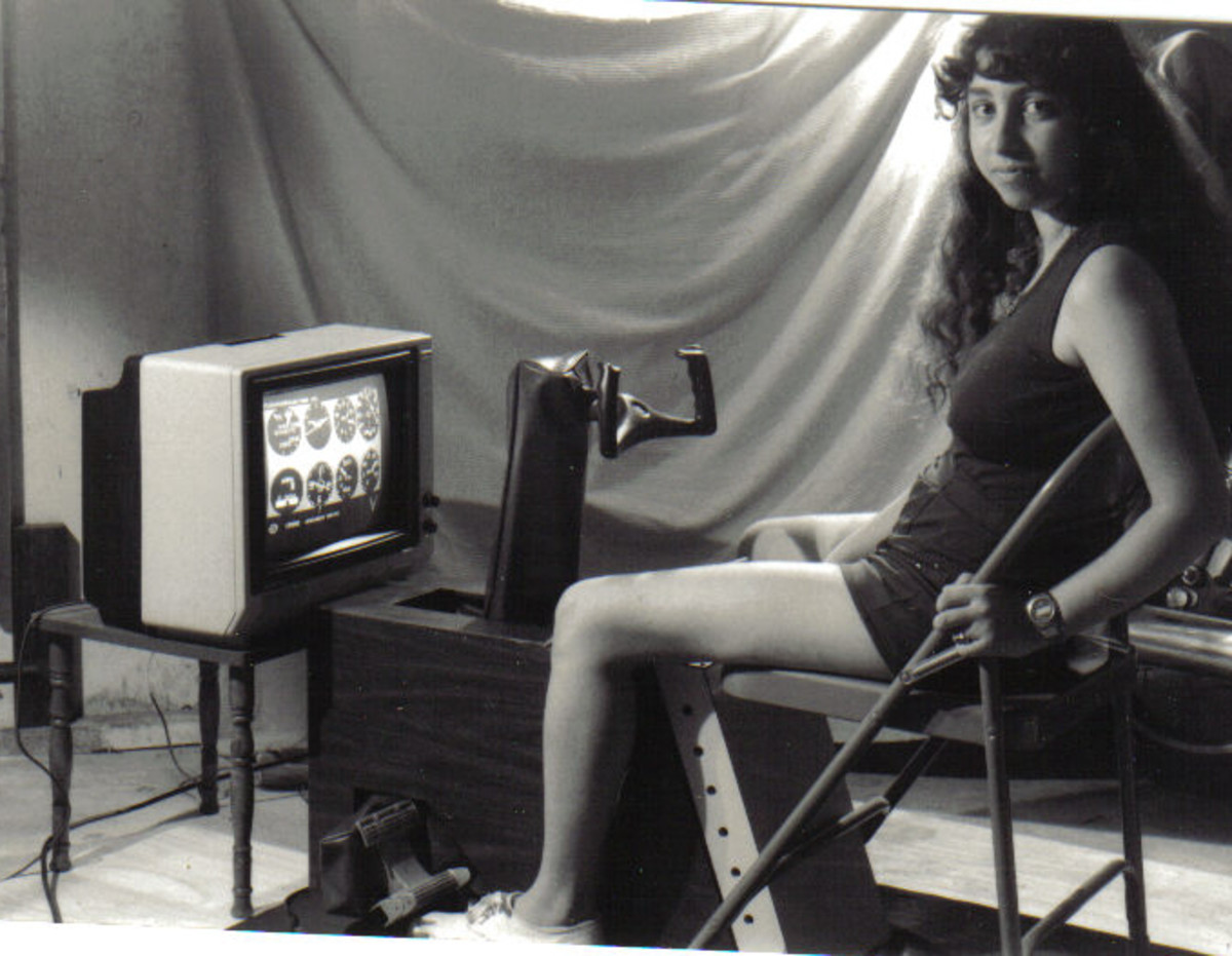 This photo of me with the Minisimulator IIC was taken for the purpose of advertising