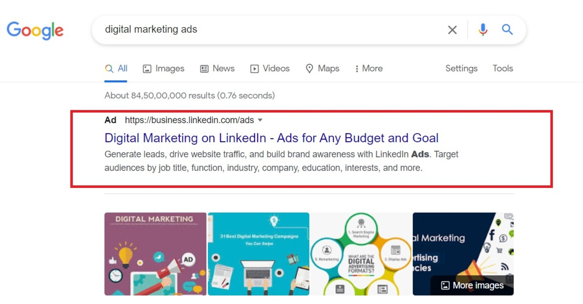Digital ads in search engines.