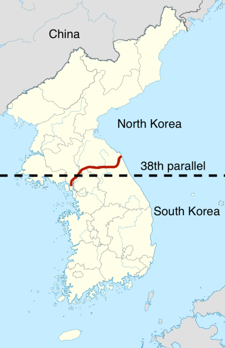 Map of the Korean peninsula after the Korean War.