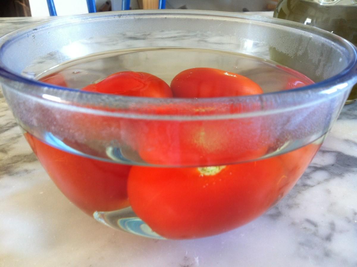Drop in boiling water 1 min to help peeling