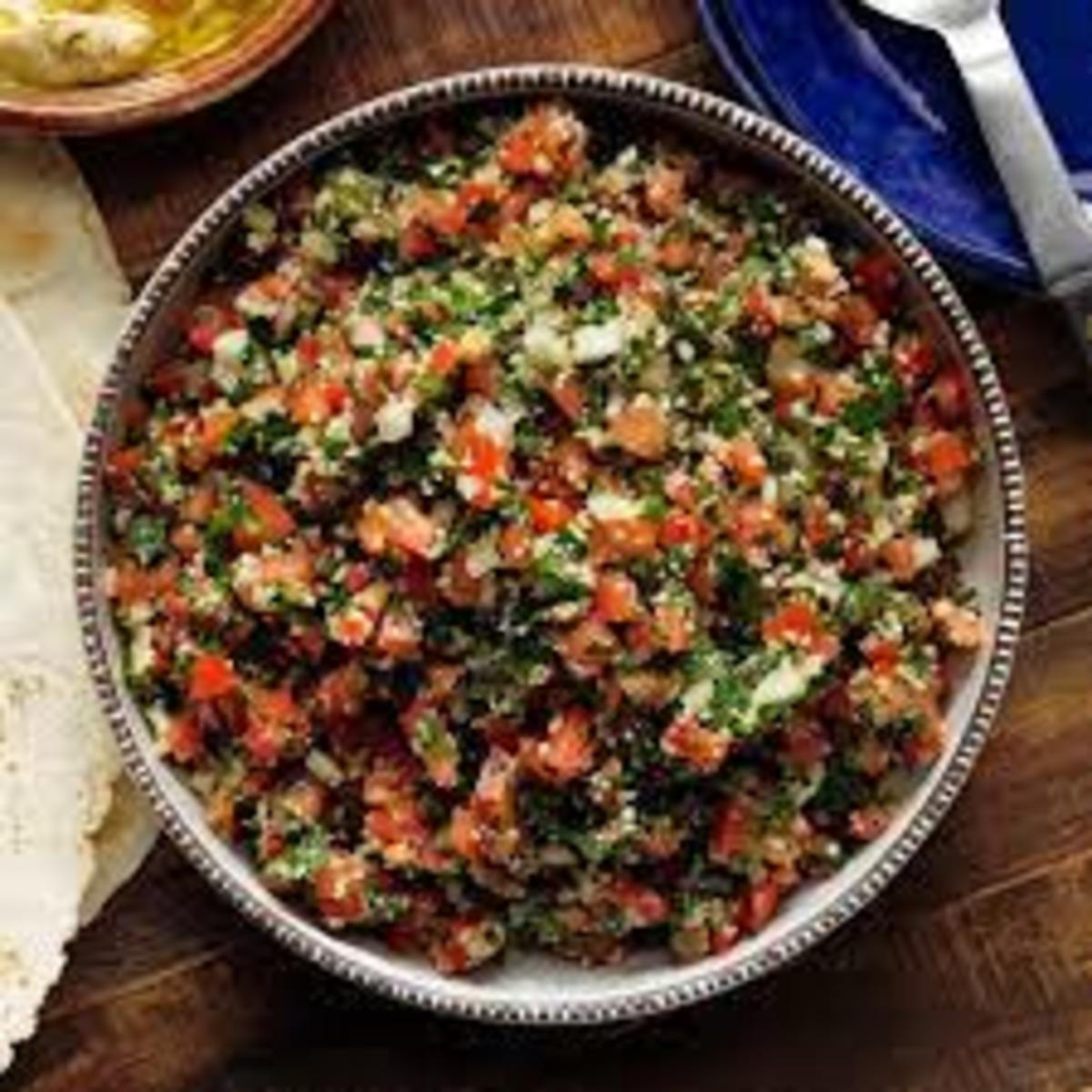 Famous wheat and herb salad of Arabian meze