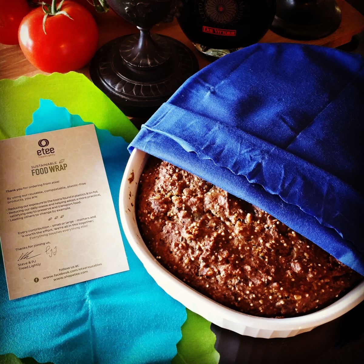 These days, I prefer to make our bread in a casserole dish that fits my sustainable food wrap. It beats plastic and keeps our bread fresh.
