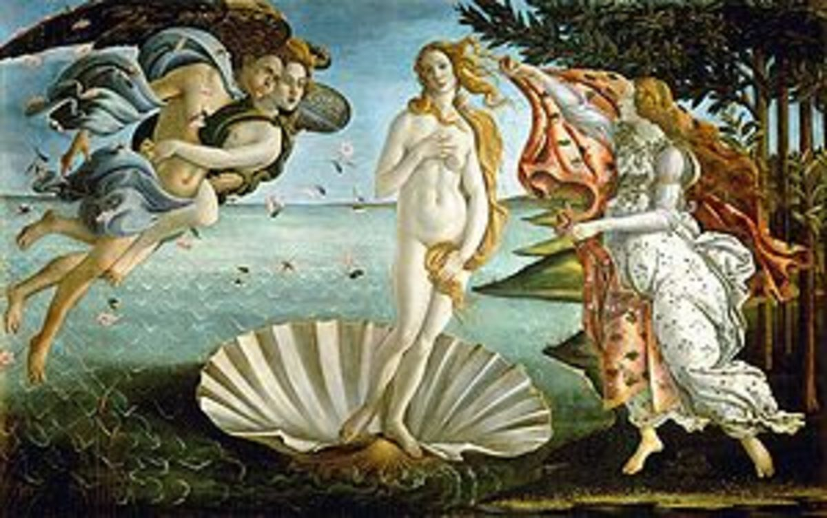 The Birth of Venus      Sandro Botticelli, c. 1482–1486      tempera on canvas      172.5 × 278.5 cm, 67.9 × 109.6 in      Uffizi, Florence