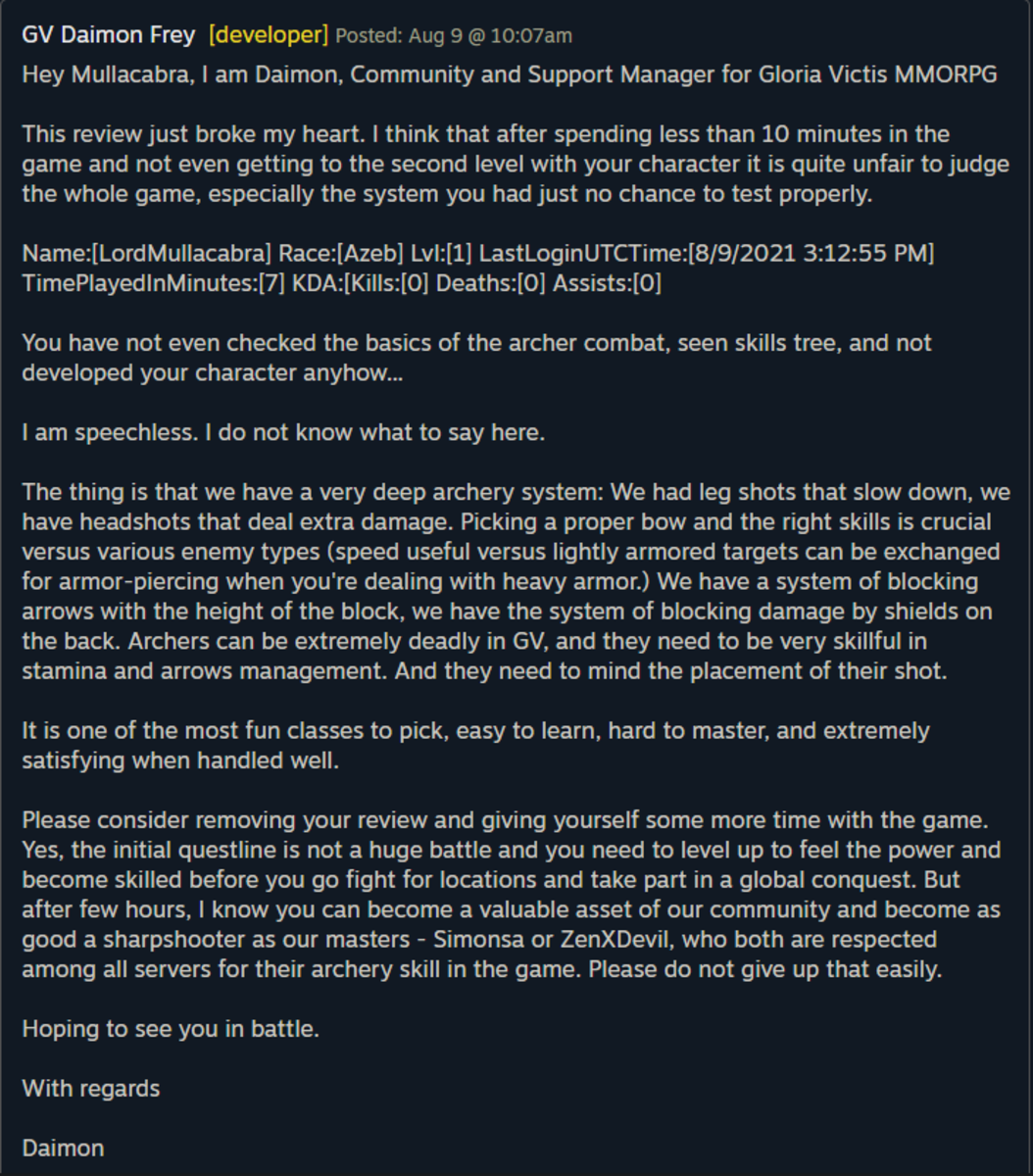 This is a capture of the dev's response to my review.
