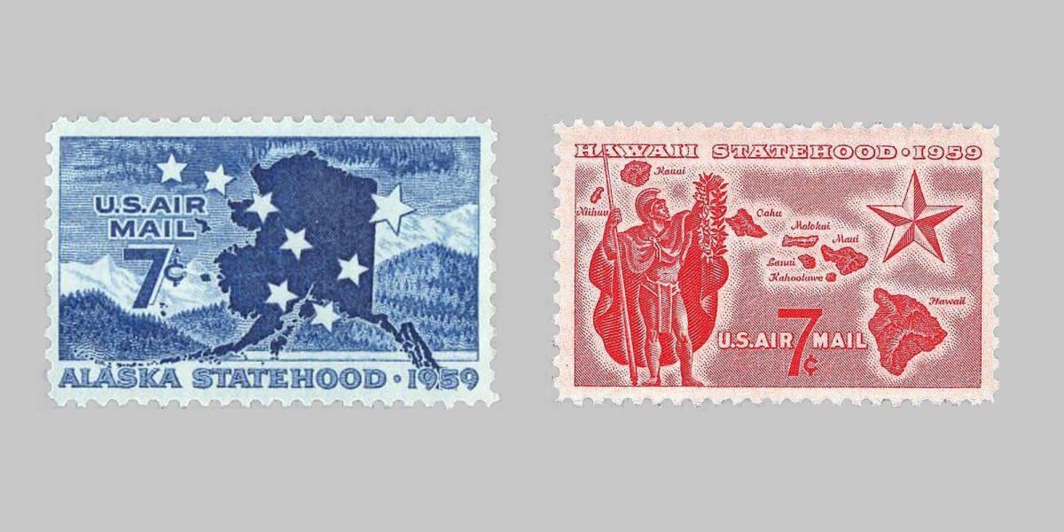 1959 Alaska and Hawaii U.S. postage stamps.