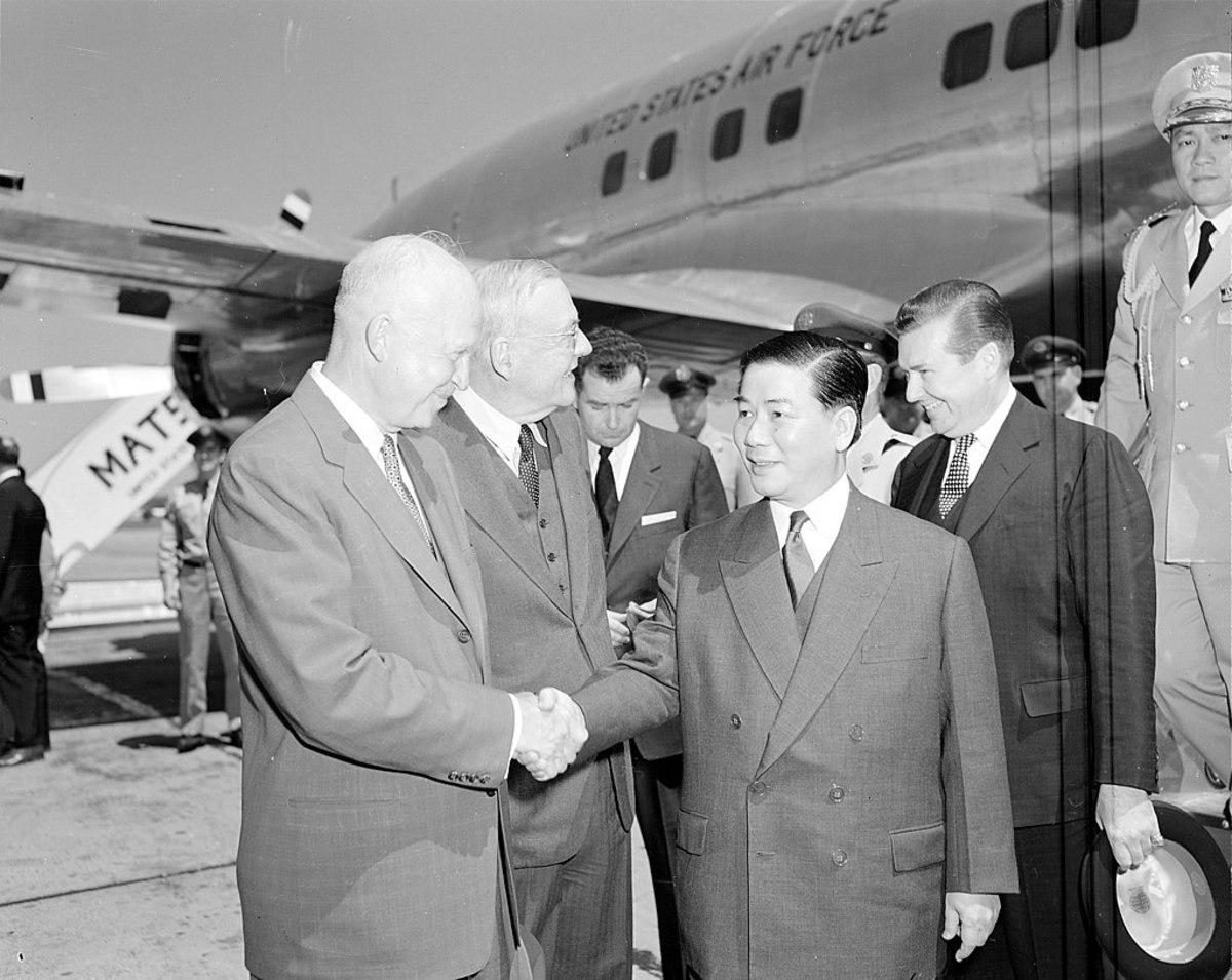 President Eisenhower (far left) and Secretary of State John Foster Dulles greet President Ngo Dinh Diem of South Vietnam in Washington in May 1957.