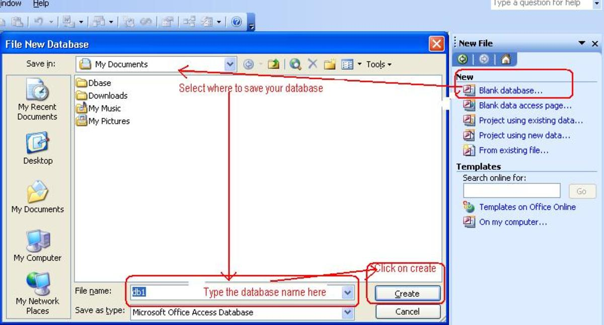 Creating a Database in Ms Access 2003