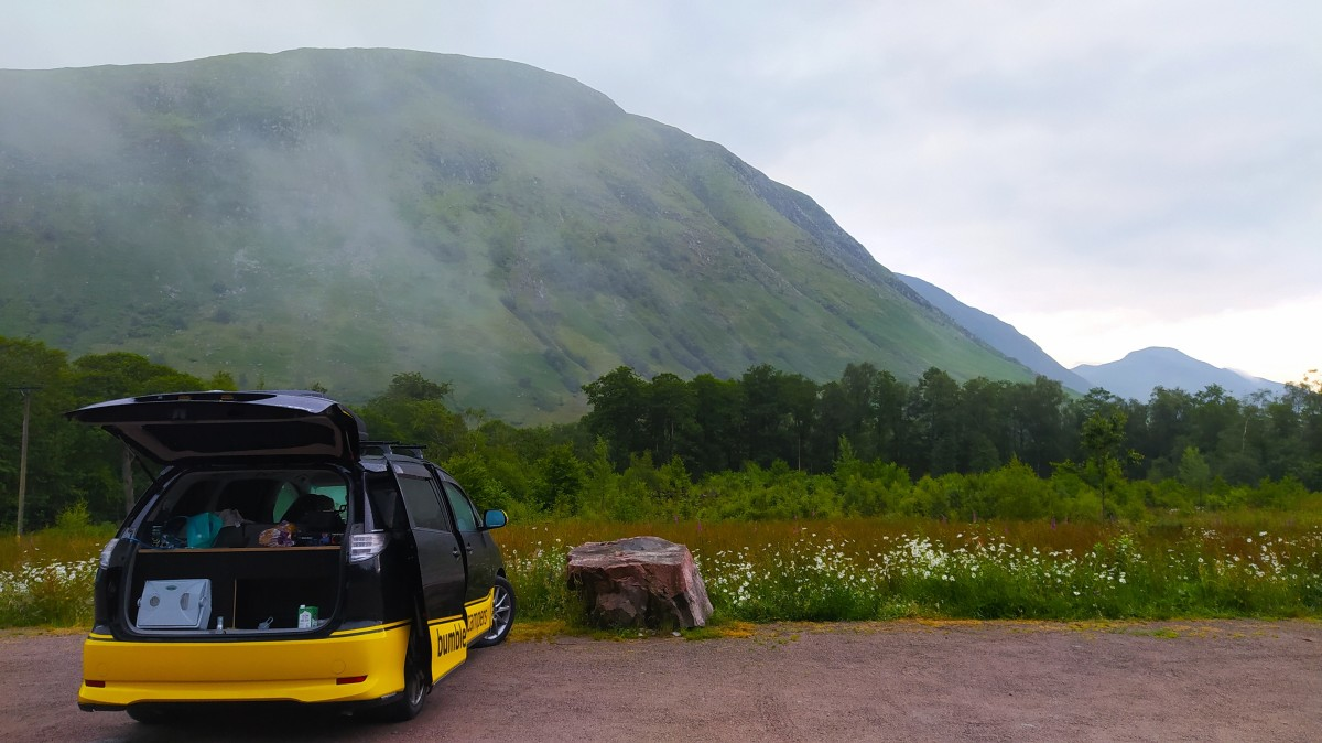Parked up ready to hike up Ben Nevis.