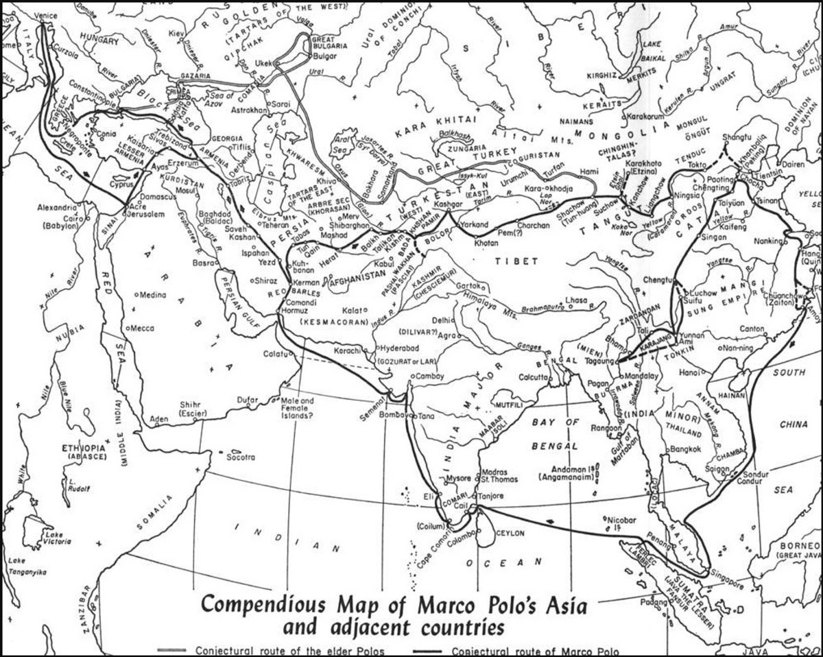 Map of Marco Polo's journey