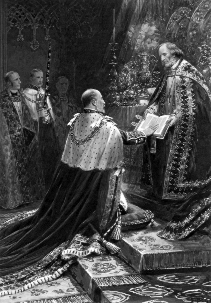 Edward VII taking the coronation oath, 9th August 1902.