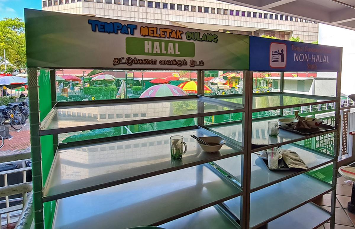 Tray return shelf at a Singapore Hawker Center.