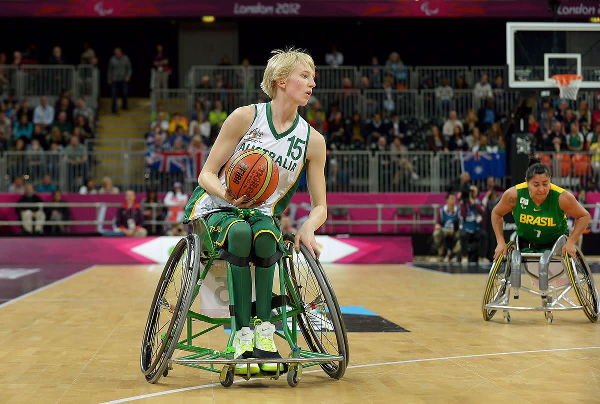 Australian Gliders member Amber Merritt at the 2012 Summer Paralympic Games. The Gliders beat Team USA in the semi finals and placed second to German to win the Silver Medal for Australia.