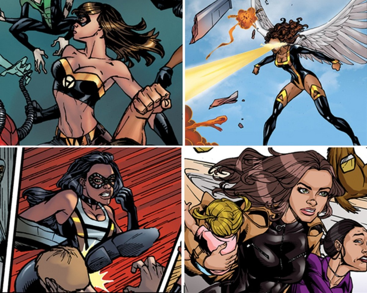 Voluntaryist Vixens (modern definition of vixen: smart, hot, pretty, sexy female) fighting for funnybook freedom are (clockwise from top left) petite Voluntaria, Amazon Agora, diminutive Lil' V and cagey AnCat,
