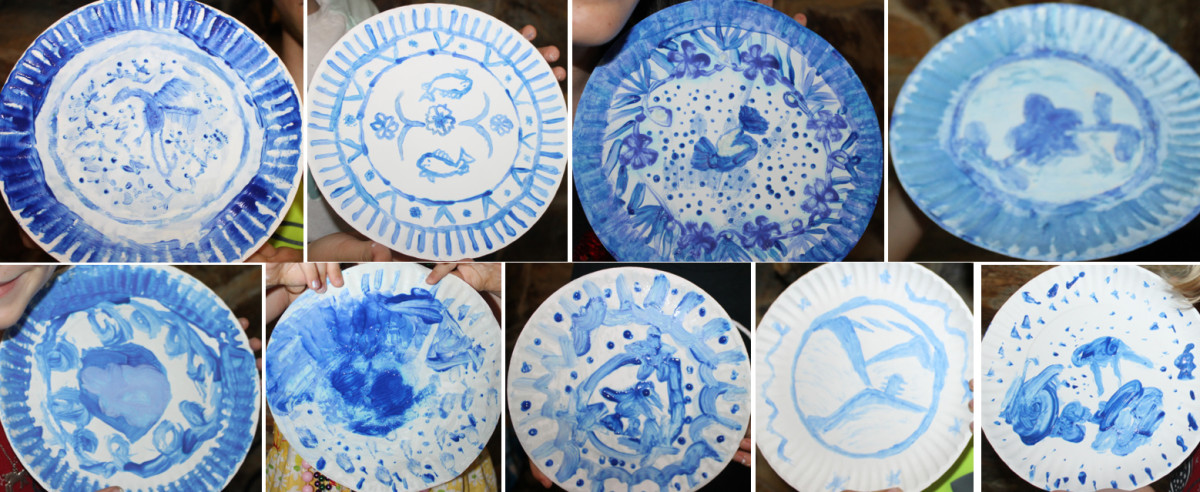 Some of the Ming Dynasty porcelain-inspired plated painted on paper plates by preschoolers, elementary, and middle school aged children