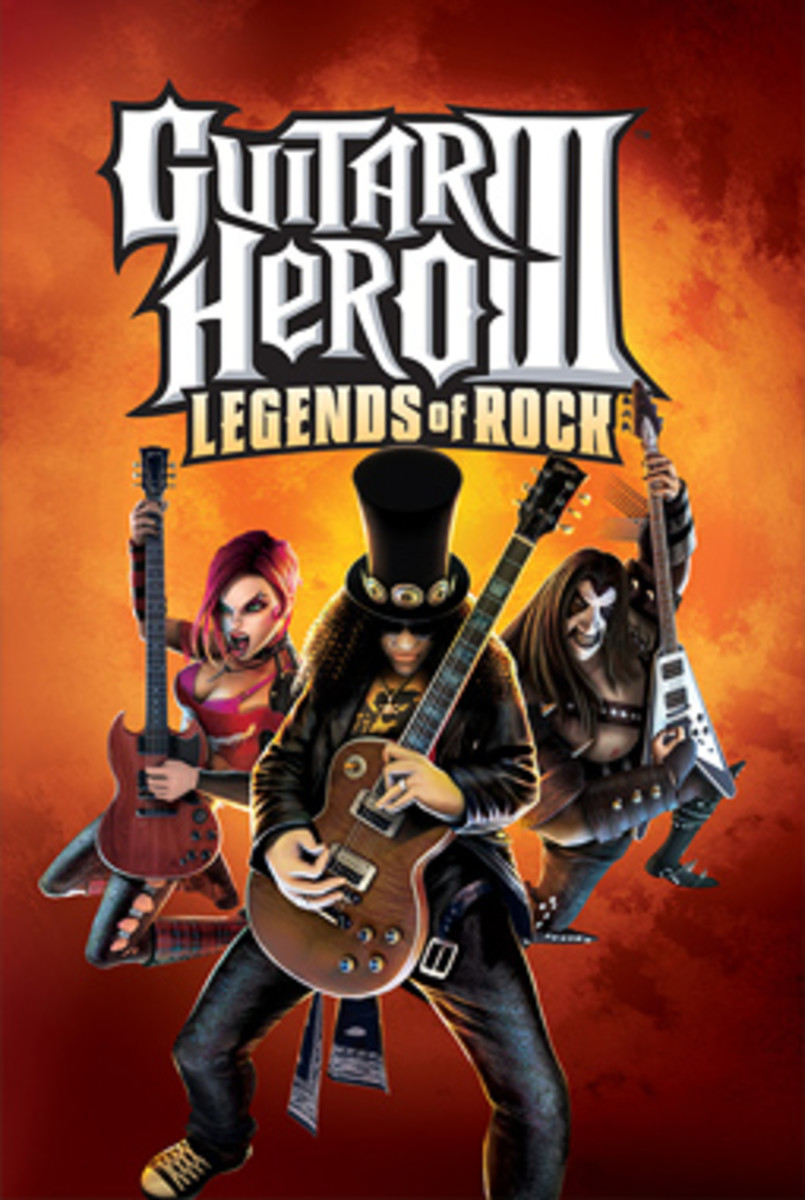 Front cover of Guitar Hero III: Legends of Rock, console-neutral.  Image from Kotaku. Image copyright Activision, Neversoft, RedOctane