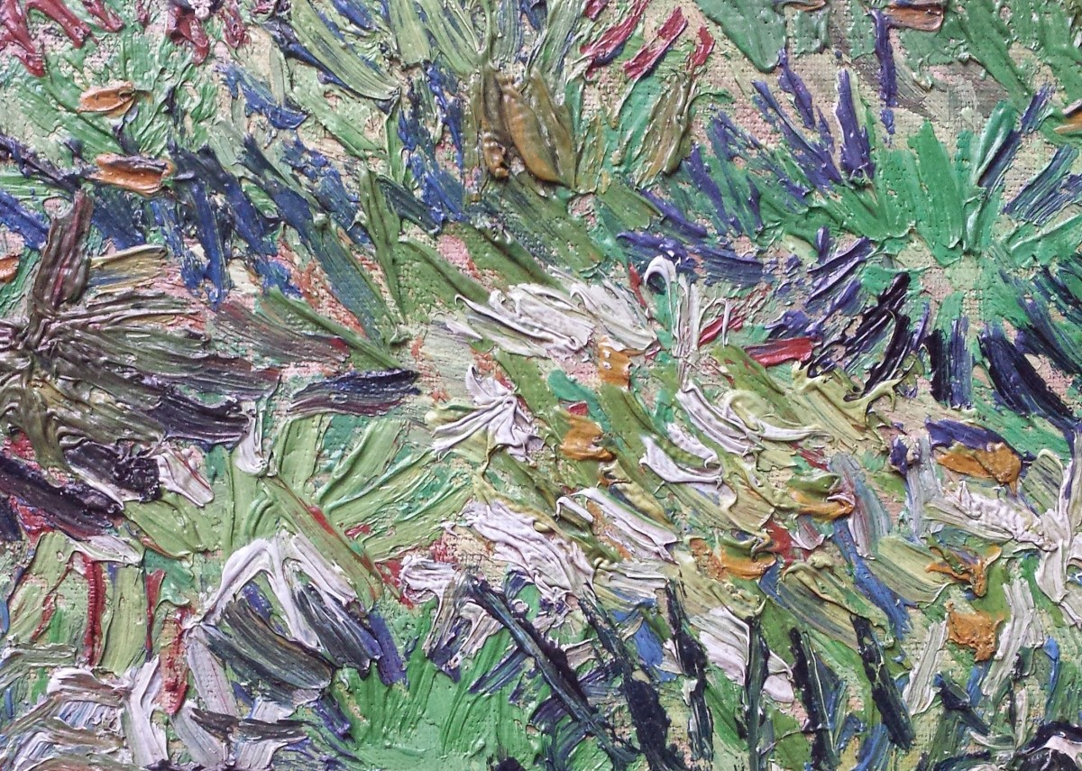 A close-up of a Van Gogh painting. Notice how the paint is thick and sticks up from the surface in ridges and bumps.