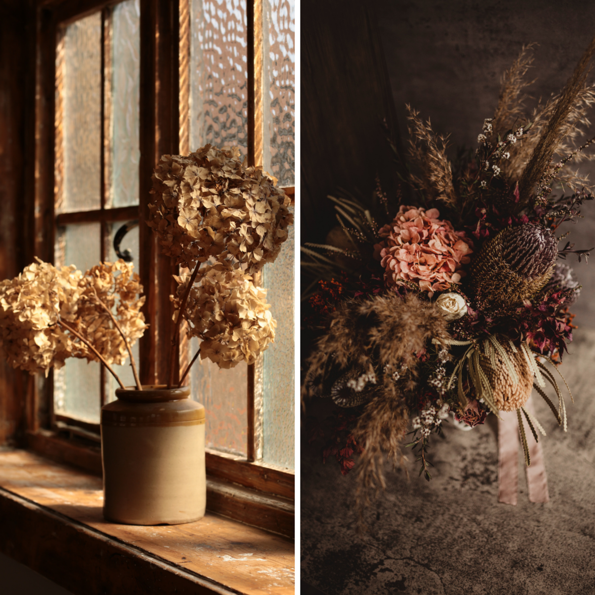 Dried hydrangeas are very versatile. Here are just two ways they might be arranged!