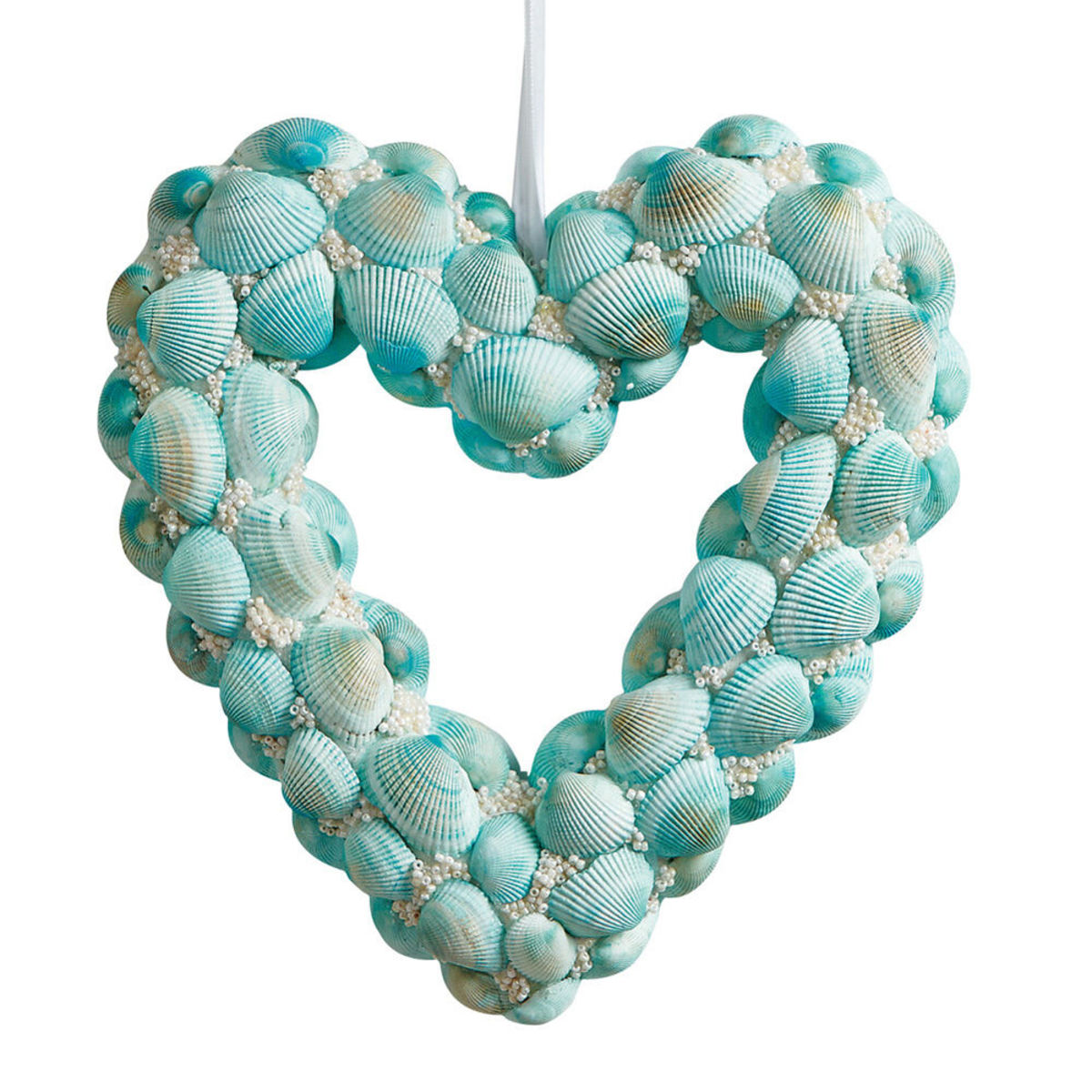 This lovely painted shell wreath shows a lot of love