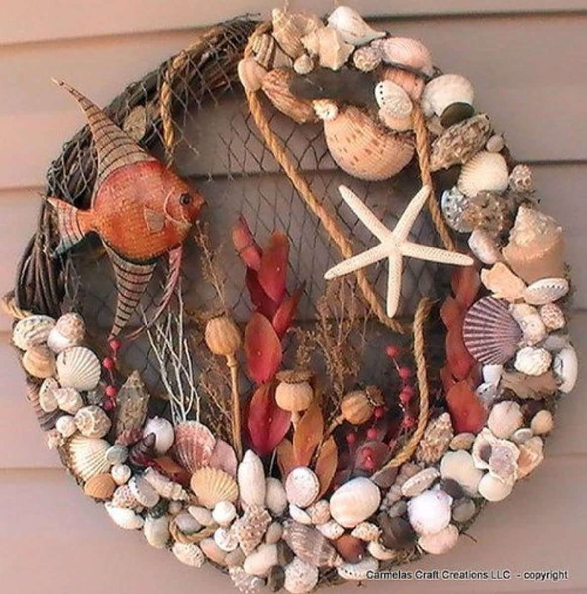 Adding extra decor to your shell wreath adds interest