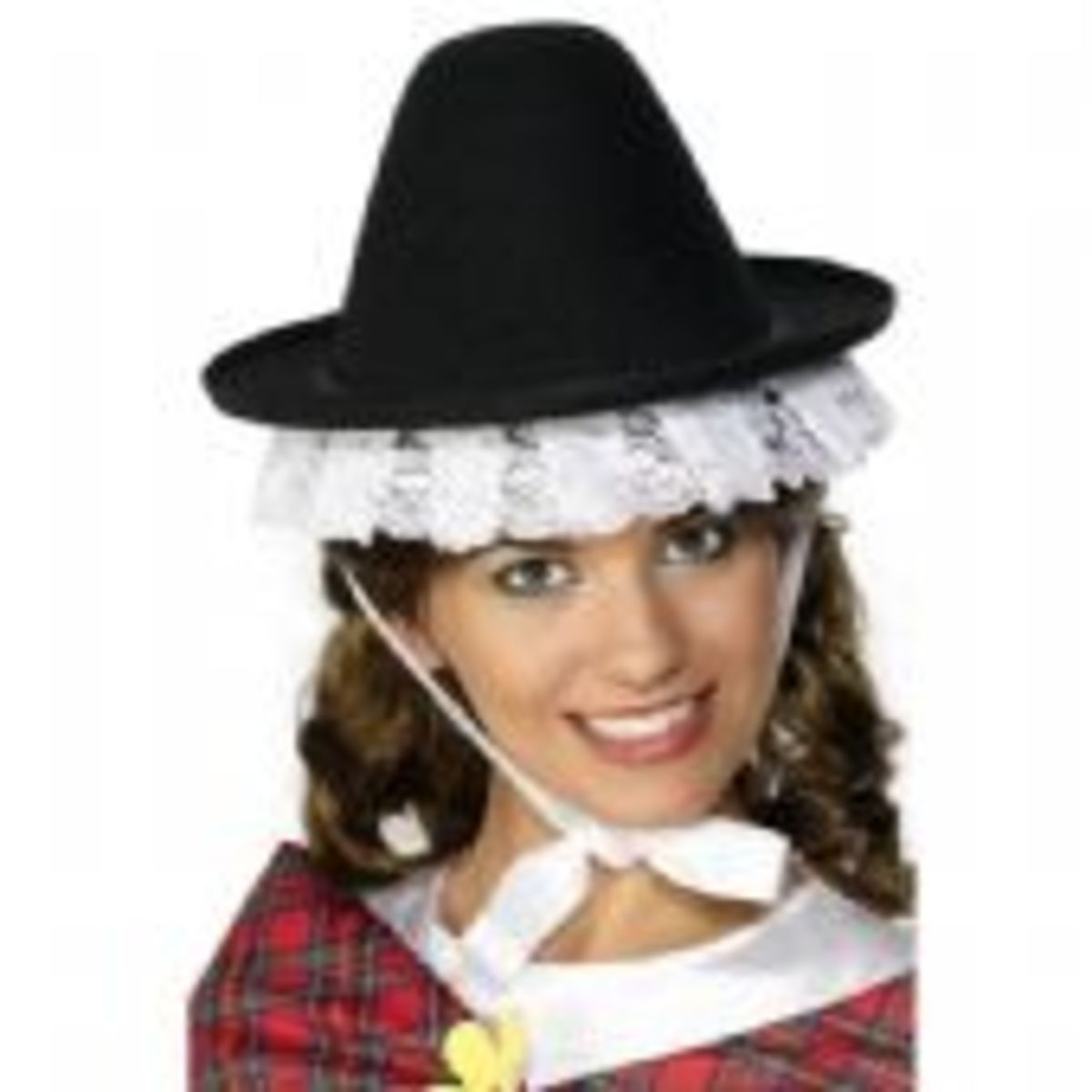 This is a typical Welsh Bonnet. A black hat trimmed with white exposed lace.