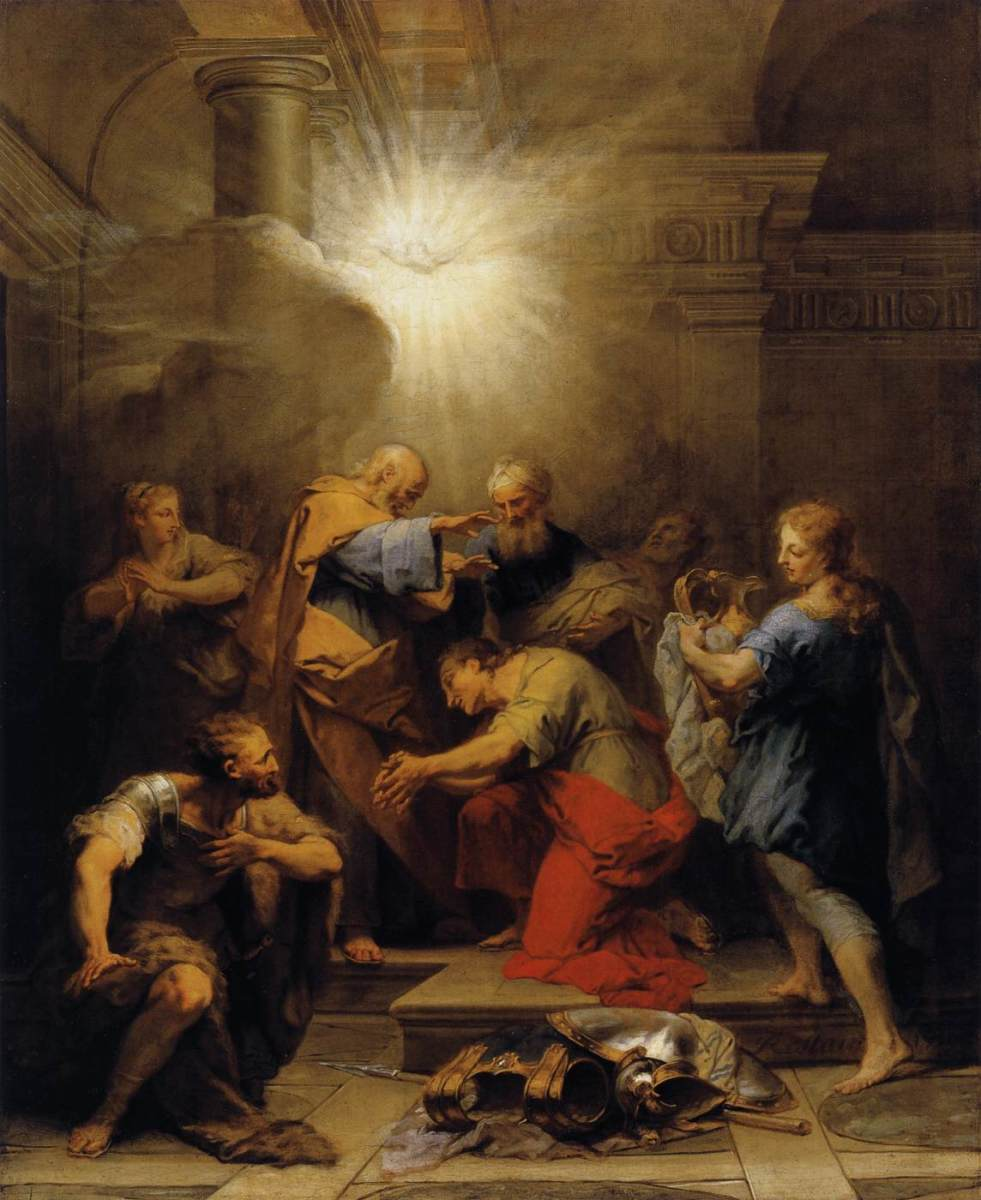 """Ananias Restoring the Sight of St Paul"" - by Jean II Restout (1719) - Museum du Louvre - Paris"