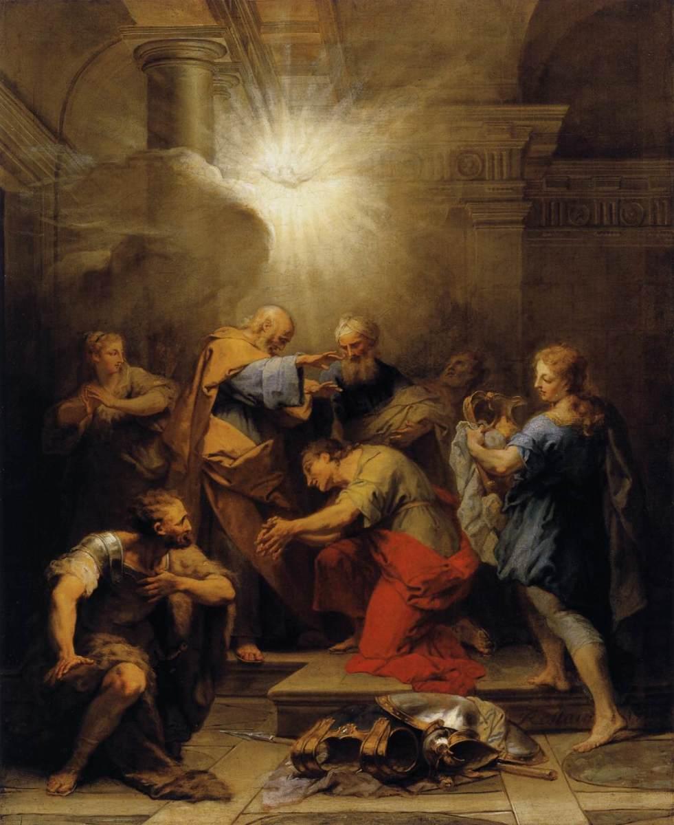"""Ananias Restoring the Sight of St Paul"" - by Jean II Restout (1719) - Museum du Louvre - Paris"