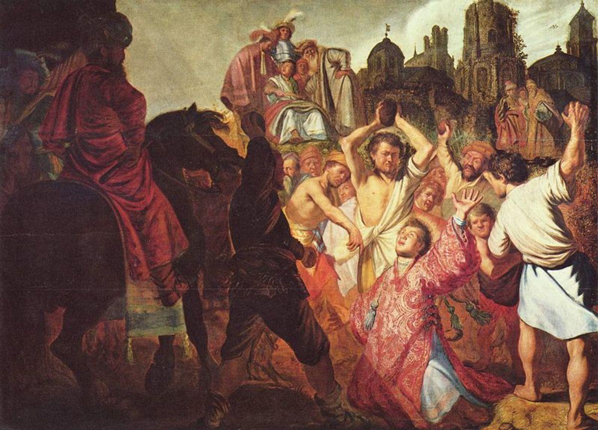 """""""The Lapidation of Saint Stephen"""" by Rembrandt van Rijn (1625) - Museum des Beaux-Arts de Lyon - France"""