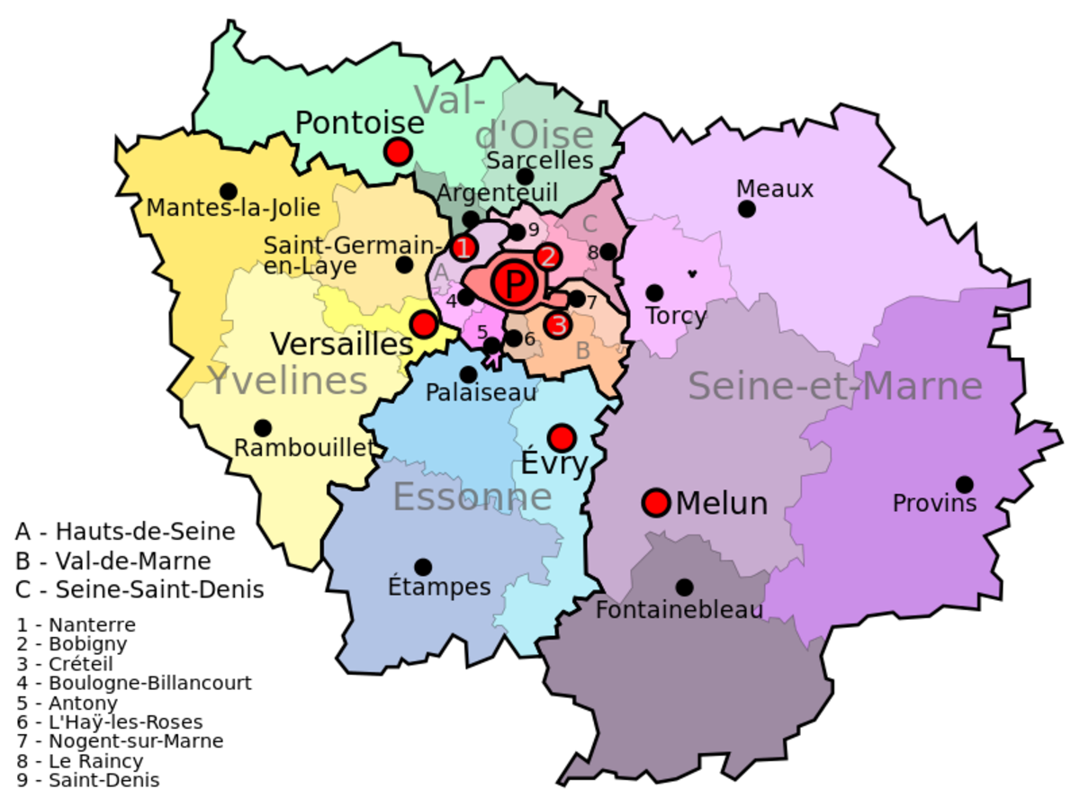 Paris and Versailles are shown here; Senart and Etoilles lie to the south east of Paris close to Evry in Essone and into Seine-et-Marne.