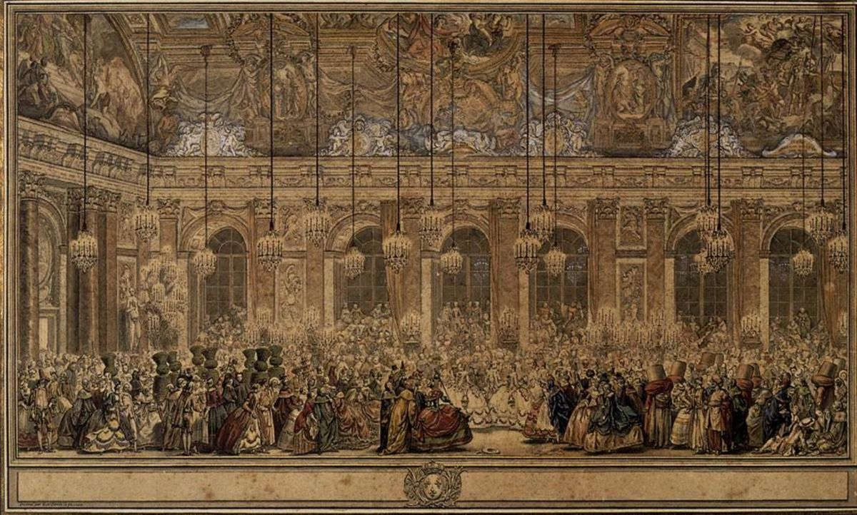 A Masked Ball in the Hall of Mirrors at Versailles by Nicolas Cochin 1745.