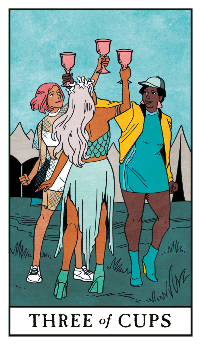 The Three of Cups is about a social circle. When three friends unite, they can collaborate and unify on a particular goal. This card is seen as positive and uplifting. You need the strength and support of your friends.