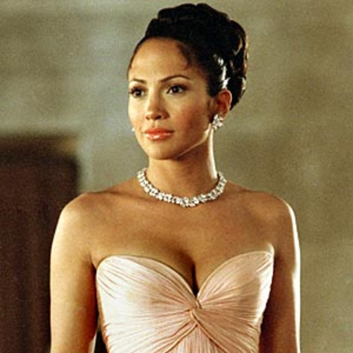 Beautiful Jennifer Lopez in the Famous Pink Chiffon Evening Gown from the Movie Maid in Manhattan