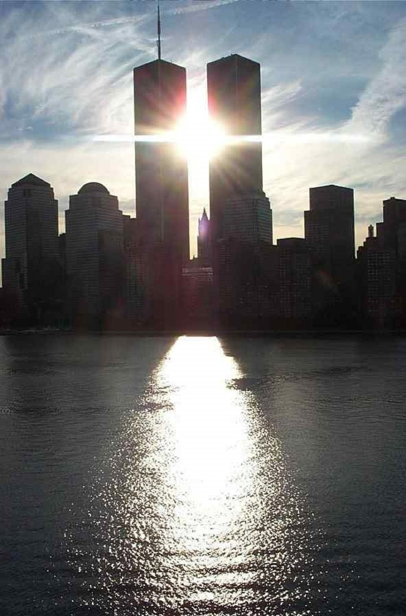 The pristine image of the World Trade Center Twin Towers will always be remembered with the backdrop of blue skies.