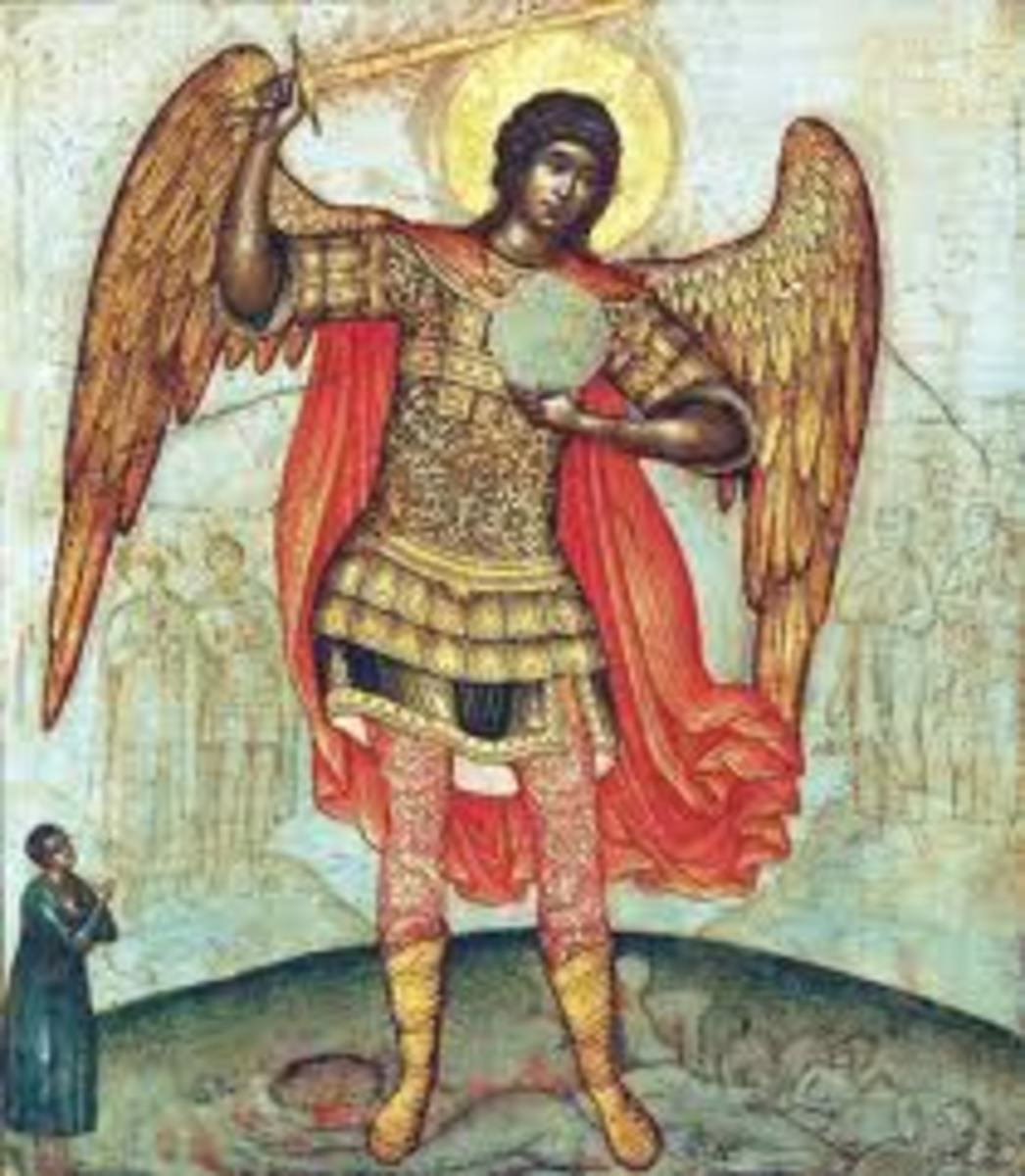 Archangel Michael, commander supreme of the angles of God, in the name of God defeats Lucifer who was then sent by God to guard the negative forces of the universe at the entrance of the abyss