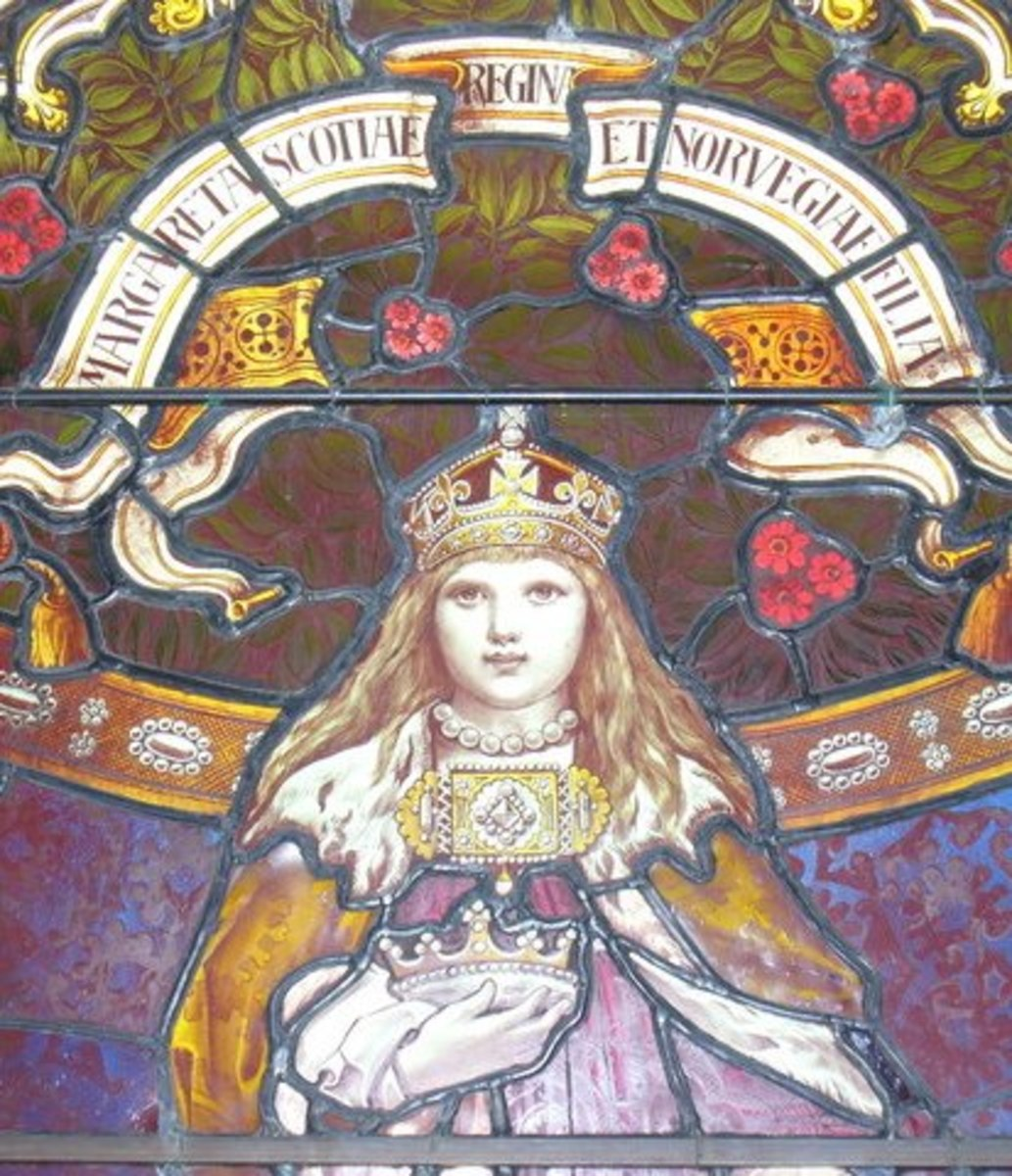 Margaret, Maid of Norway and Queen of Scotland. This window was installed at Lerwick Town Hall.