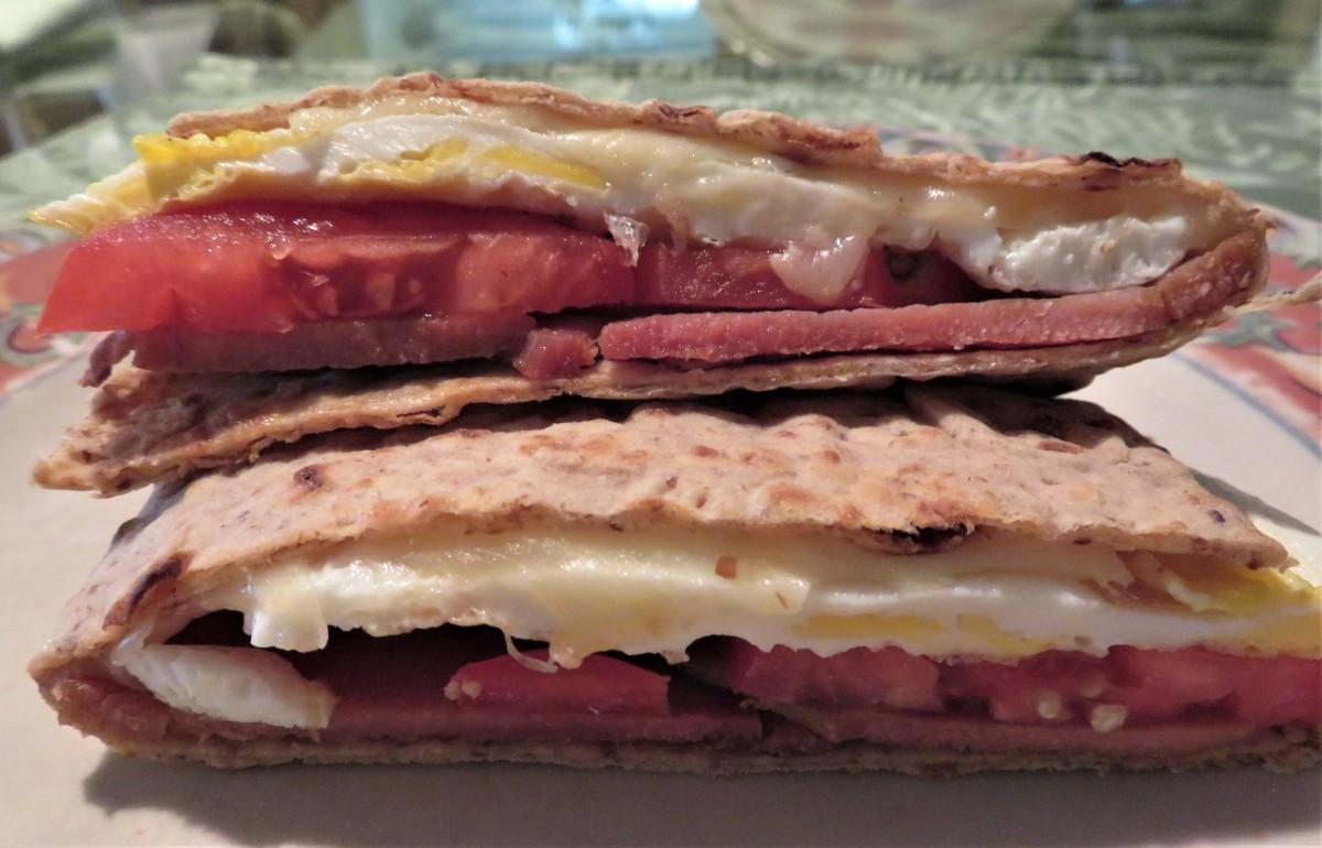 Breakfast Sandwich With Natural Lavash Roll-Ups Flax Bread