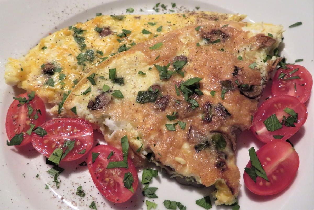 Frittata With Mushrooms, Green Onion, and Sharp Cheddar Cheese