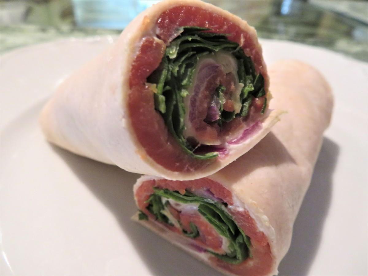 Smoked Salmon and Cream Cheese Wraps